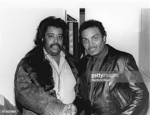 Reverend Al Sharpton and Joe Jackson poses for photos during The Jacksons 'Victory Tour' preparty at the RitzCarlton Hotel in Chicago Illinois in...