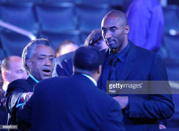 Reverend Al Sharpton and Kobe Bryant arrive at the Michael Jackson public memorial service held at Staples Center on July 7 2009 in Los Angeles...