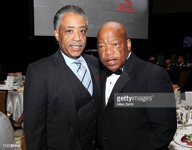 Reverend Al Sharpton and US Congressman John Lewis attend the MLB Beacon Awards Banquet at the Omni Hotel on May 14 2011 in Atlanta Georgia