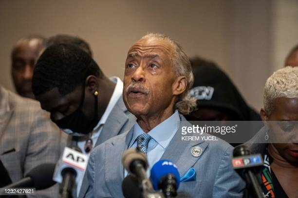 Reverend Al Sharpton cries during a press conference following the verdict in the trial of former police officer Derek Chauvin in Minneapolis,...