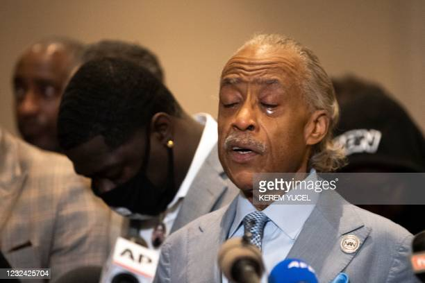 Reverend Al Sharpton cries following the verdict in the trial of former police officer Derek Chauvin in Minneapolis, Minnesota on April 20, 2021. -...