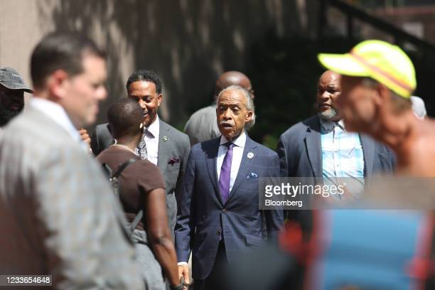 Reverend Al Sharpton exits Hennepin County Government Center following the sentencing of former Minneapolis police office Derek Chauvin in...