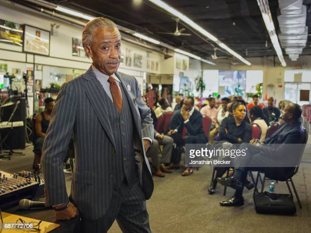 Reverend Al Sharpton is photographed for Vanity Fair Magazine on August 20 2015 at the National Action Network's House of Justice in Harlem New York...