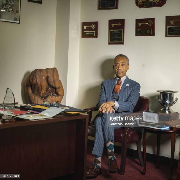 Reverend Al Sharpton is photographed for Vanity Fair Magazine on August 20 2015 in his office at the National Action Network's House of Justice in...