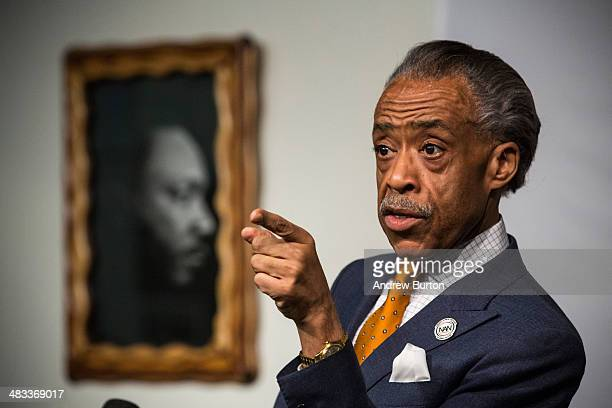 Rev Al Sharpton speaks a press conference at the National Action Network's Office on April 8 2014 in New York City Sharpton spoke about alligations...