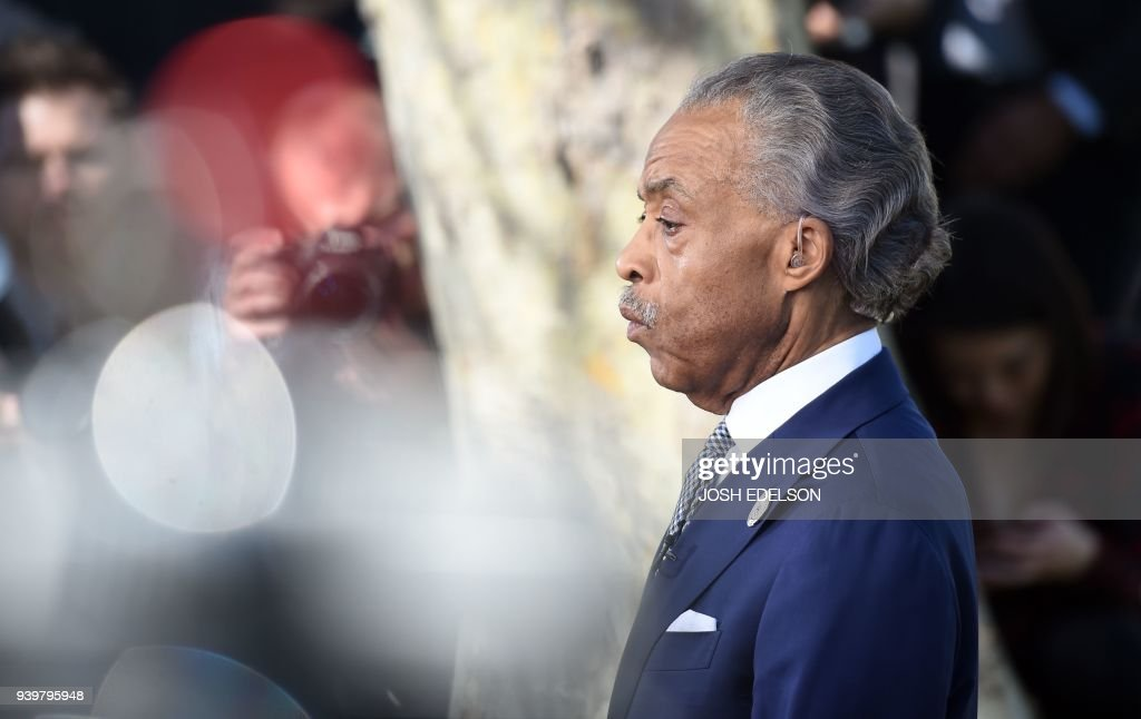 Reverend Al Sharpton speaks to members of the media before the start of Stephon Clark's funeral in Sacramento, California on March 29, 2018. Stephon Clark, an unarmed African American, was shot and killed by police on March 18, 2018 at his grandmother's home. /