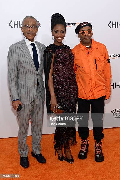 Reverend Al Sharpton Teyonah Parris and director Spike Lee attend the 'CHIRAQ' New York Premiere at Ziegfeld Theater on December 1 2015 in New York...