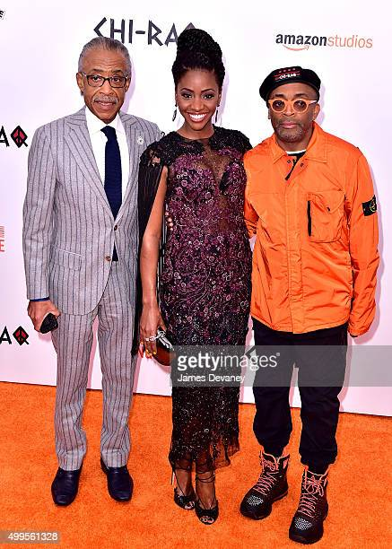 Reverend Al Sharpton Teyonah Parris and Spike Lee attend the 'CHIRAQ' New York premiere at the Ziegfeld Theater on December 1 2015 in New York City