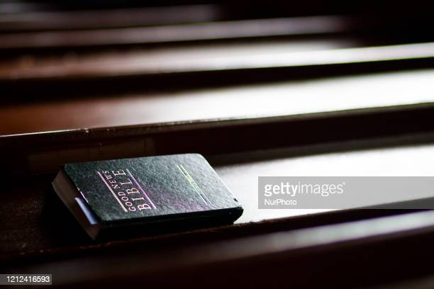Reverend Anna Rodwell prerecords a Sunday service at Ednam Parish Church on May 09 2020 in Ednam Scotland Churches and cathedrals across the Uk adapt...
