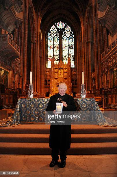Reverend Canon Myles Davies relocates the Hillsborough Memorial Eternal Flame at the Liverpool Anglican Cathedral as the existing Hillsborough...