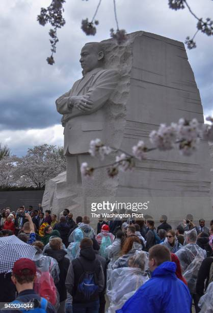 Reverend Dr Martin Luther King Jr is honored at the site of his DC memorial as DC Mayor Muriel Bowser hosts a ceremonial wreath laying on the 50th...