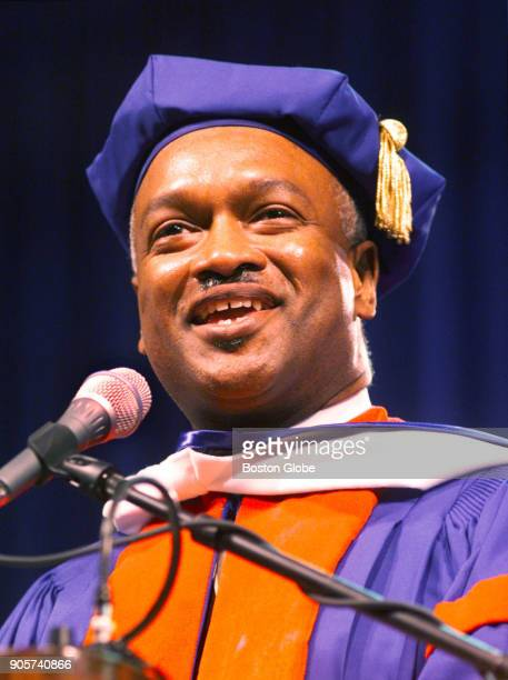 Reverend Dr Ray A Hammond delivers a Commencement address during the UMass Boston graduation ceremony held at the Bayside Expo Center in Boston on...