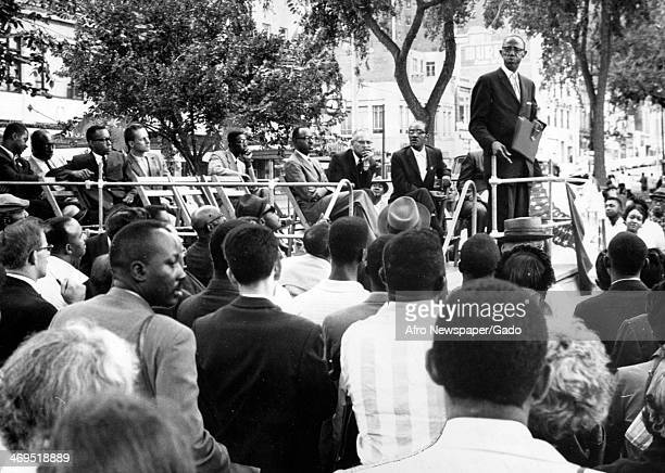 Reverend E James Grant from the Zion Missionary Baptist Church in Albany speaking to the crowd at a rally against segregation, New Haven,...