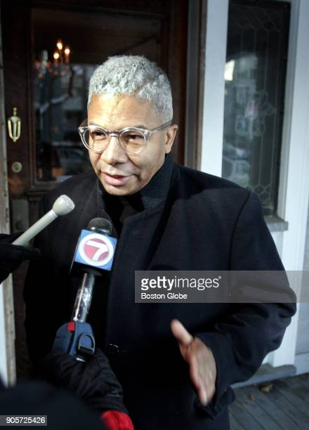 Reverend Eugene Rivers speaks to the press on the front porch of his home in the Dorchester neighborhood of Boston on Dec 14 2005 Four young people...