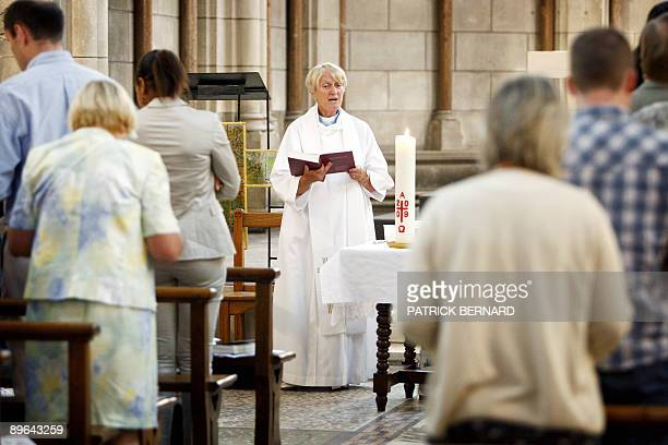 Reverend Gill Stratchan an Anglican priest celebrates an Anglican service on July 19 2009 in a old stone French Roman Catholic chapel in Bordeaux...