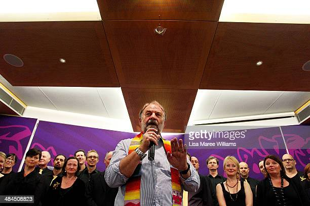 Reverend Graham Long performs a service with Sydney gospel chior 'The Honeybees' during the 50th Anniversary celebration of The Wayside Chapel on...