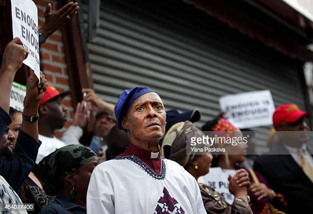 Reverend Herbert Daughtry attends a rally against police violence on August 23 2014 in the Staten Island borough of New York City Thousands of...