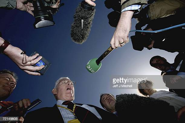 Reverend Ian Paisley leader of the Democratic Unionist Party speaks to the media on October 12 in St Andrews Scotland The politicians were attending...