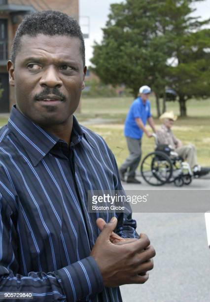 Reverend Jeffrey Brown stands inside the housing area where Hurricane Katrina evacuees are living at Camp Edwards in Bourne MA on Sep 9 2005...