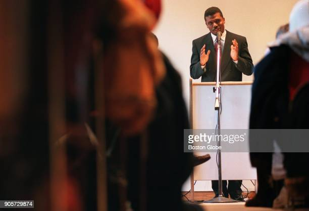 Reverend Jeffrey L Brown one of the keynote speakers for the twentythird annual commemoration of Dr Martin Luther King Jr's birthday addresses the...