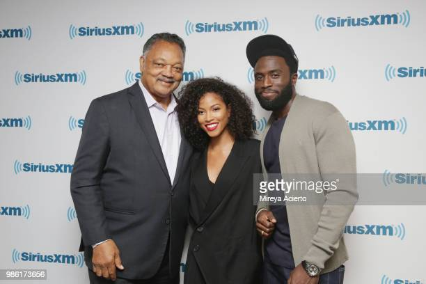 Reverend Jesse Jackson actress Lex Scott Davis and actor Y'lan Noel visit SiriusXM Studios on June 28 2018 in New York City