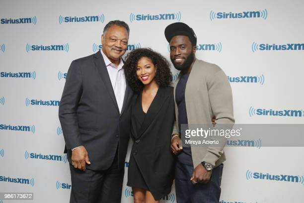 Reverend Jesse Jackson actress Lex Scott Davis and actor Y'lan Noel visit SiriusXM Studios on June 28 2018 in New York City