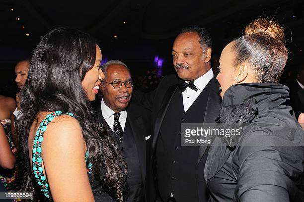Reverend Jesse Jackson and Jacqueline Lavinia Brown attend the Martin Luther King Jr Memorial Dream Gala at Hilton Hotel on October 15 2011 in...