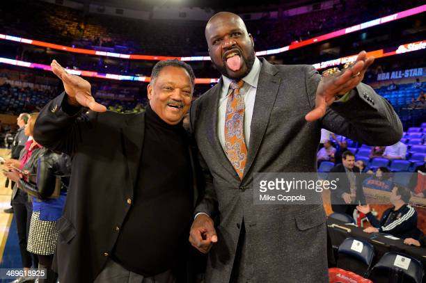 Reverend Jesse Jackson and Shaquille O'Neal attend the State Farm All-Star Saturday Night during the NBA All-Star Weekend 2014 at The Smoothie King...