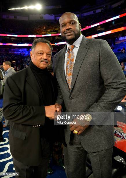Reverend Jesse Jackson and Shaquille O'Neal attend the State Farm AllStar Saturday Night during the NBA AllStar Weekend 2014 at The Smoothie King...