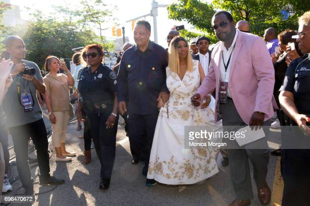 Reverend Jesse Jackson and Singer Aretha Franklin during the 2017 Detroit Music Weekend on June 9 2017 in Detroit Michigan