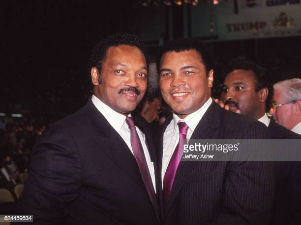 Reverend Jesse Jackson and World Famous Boxer Muhammad Ali ringside at Tyson vs Holmes Convention Hall in Atlantic City New Jersey January 22 1988
