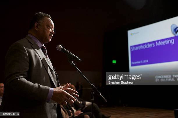 Reverend Jesse Jackson asks a question during the Microsoft Shareholders Meeting December 3 2014 in Bellevue Washington The meeting as first without...