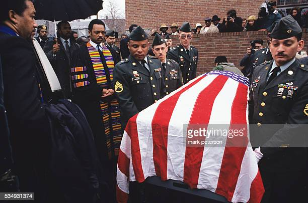 Reverend Jesse Jackson at funeral for Army private Robert Tally who was killed while serving in the first gulf war