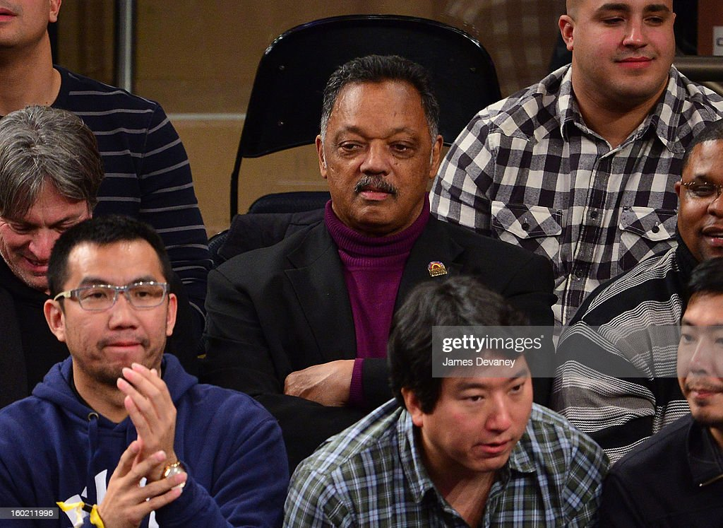 Reverend Jesse Jackson attends the Atlanta Hawks vs New York Knicks game at Madison Square Garden on January 27, 2013 in New York City.