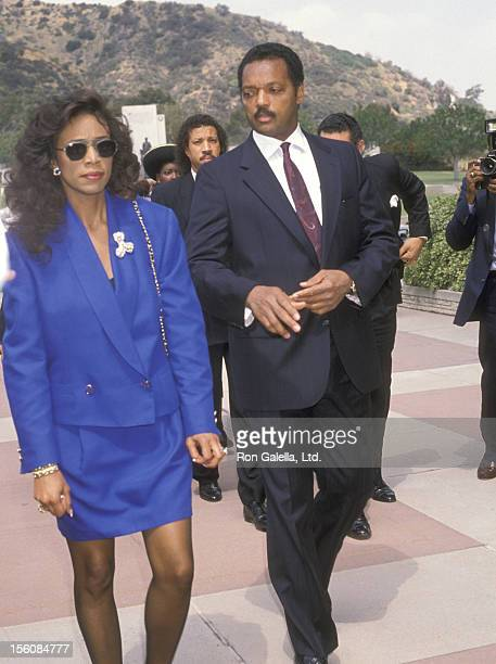 Reverend Jesse Jackson attends the 'Funeral Service for Sammy Davis Jr' on May 18 1990 at Forest Lawn Memorial Park in Los Angeles California