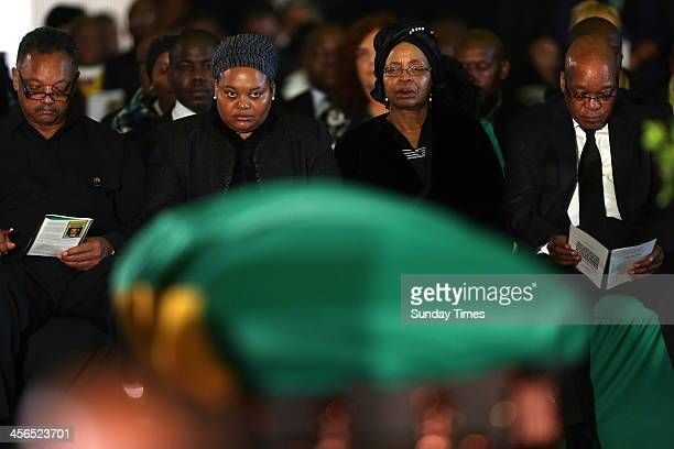 Reverend Jesse Jackson, First lady, Nompumelelo Ntuli, Graca Machel and President Jacob Zuma at the official send-off for Nelson Mandela at the...