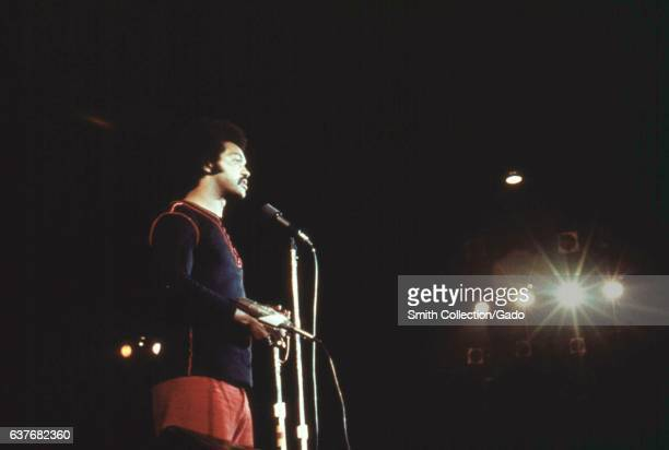 Reverend Jesse Jackson giving a speech at the Black Expo an annual fair celebrating black talent and heritage Chicago Illinois October 1973 Image...
