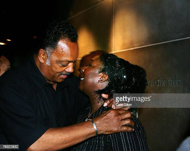 Reverend Jesse Jackson greets Gee Walker mother of murdered Huyton teenager Anthony Walker as he tours the International Slavery Museum on August 25...