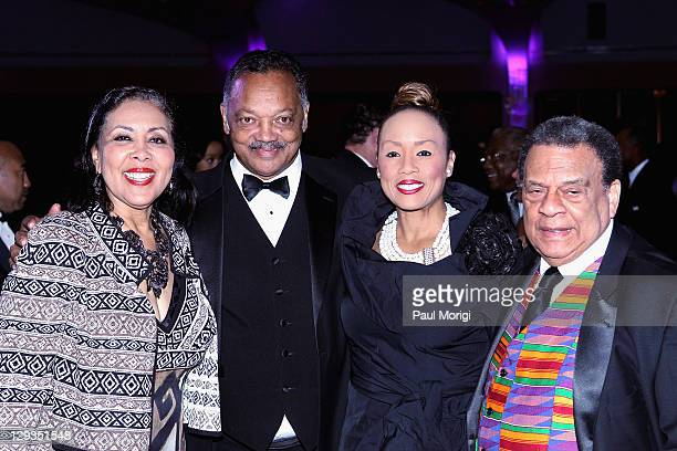 Reverend Jesse Jackson Jacqueline Lavinia Brown and Ambassador Andrew Young attend the Martin Luther King Jr Memorial Dream Gala at Hilton Hotel on...