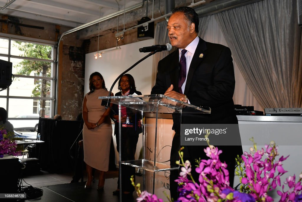 Reverend Jesse Jackson (recipient of Diversity and Inclusion Trailblazer award) speaks at IMPACT Strategies and D&P Creative Strategies Tech & Media day party and brunch at Longview Gallery on September 14, 2018 in Washington, DC.