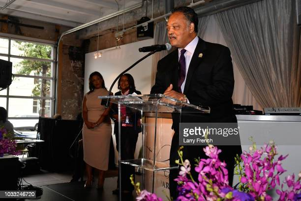 Reverend Jesse Jackson speaks at IMPACT Strategies and DP Creative Strategies Tech Media day party and brunch at Longview Gallery on September 14...
