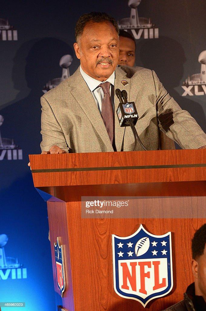 Reverend Jesse Jackson speaks at the Super Bowl Gospel Celebration press conference at Super Bowl XLVIII Media Center, Sheraton Times Square on January 30, 2014 in New York City.