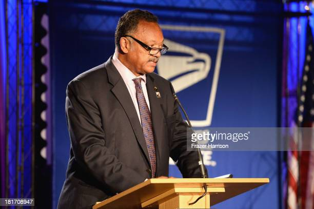 Reverend Jesse Jackson speaks at the unveiling of the new Ray Charles stamp at the GRAMMY Museum in Los Angeles Calif on Monday September 23 2013 The...