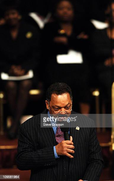 Reverend Jesse Jackson speaks during the funeral service for the late Johnnie Cochran at the West Angeles Cathedral in Los Angeles California on...
