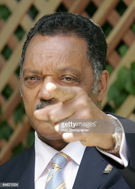 Reverend Jesse Jackson speaks to media during the third full day of jury deliberations at the Michael Jackson child molestation trial at the Santa...
