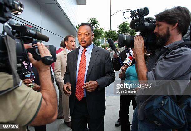 Reverend Jesse Jackson speaks to the media outside the Michael Jackson public memorial service held at Staples Center on July 7, 2009 in Los Angeles,...