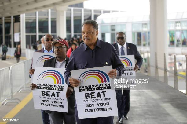 Reverend Jesse Jackson stages a protest against United Airlines at O'Hare International Airport on April 12 2017 in Chicago Illinois The protest was...