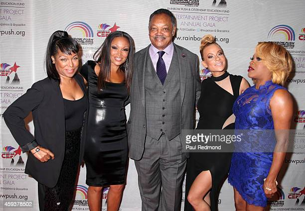 Reverend Jesse Jackson with television personalities/cast of RB Divas LA MichelÕle Chant Moore Brave Williams and Lil Mo attend the 16th Annual...