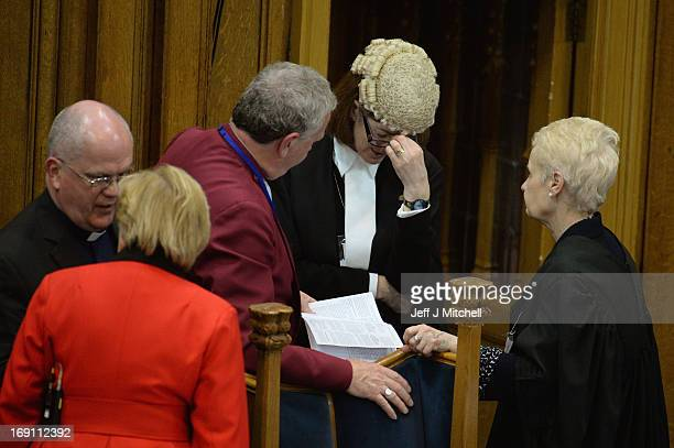 Reverend John Chalmers principal clerk to the General Assembly talks with the procurator Laura Dunlop QC during the debate on the issue of gay...