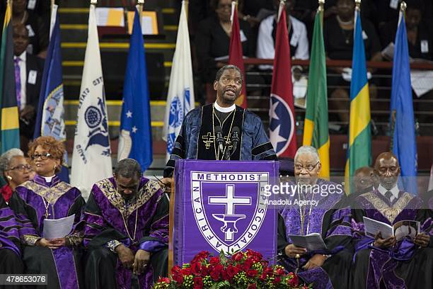Reverend John Richard Bryant speaks during the memorial service for Reverend Clementa Pinckney in Charleston USA on June 26 2015 Reverend Clementa...